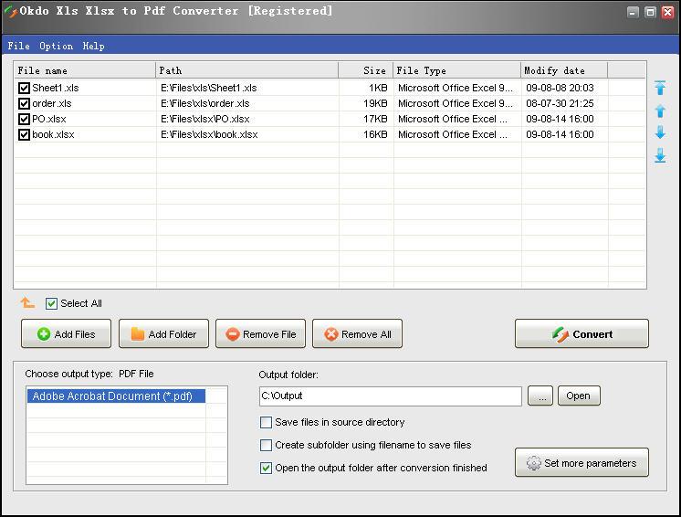 Okdo Xls Xlsx to Pdf Converter full screenshot